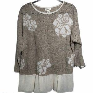 Style & Co 3/4 sleeve linen cotton blend top